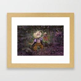 Rucus Studio Pumpkin Man and Fireflies Framed Art Print