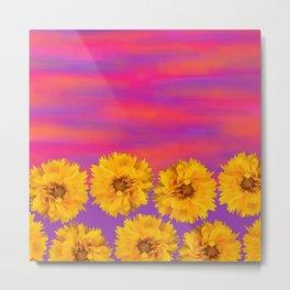 Yellow Floral Sunset Metal Print