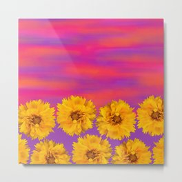 Yellow Floral Sunset Metal Print