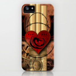 Heart with dragon and wings iPhone Case