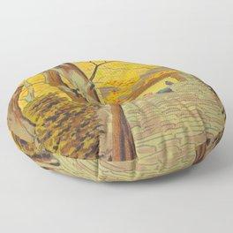 Asano Takeji Japanese Woodblock Print Vintage Mid Century Art Autumn Trees Shinto Shrine Floor Pillow