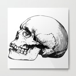 Side view of human skull illustration Metal Print