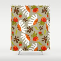 vintage flowers Shower Curtains featuring Vintage Flowers by Patternopolis