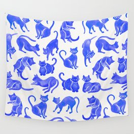 Cat Positions – Blue Palette Wall Tapestry