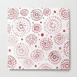Abstract watercolor sparkles – red Metal Print