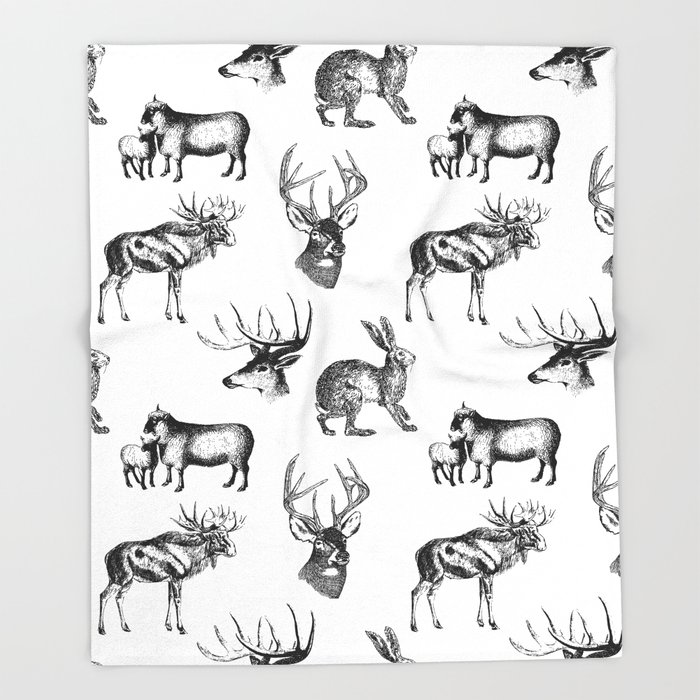 e024920144a05b Woodland Critters in Black and White Throw Blanket by beckybailey1 ...