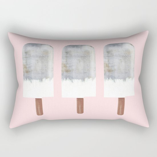 Raw Concrete with White Popsicle Rectangular Pillow
