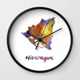 Nicaragua in watercolor Wall Clock