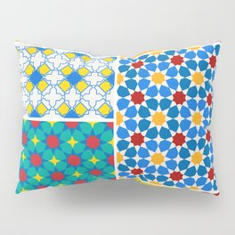 Moroccan pattern, Morocco. Patchwork mosaic with traditional folk geometric ornament. Tribal orienta Pillow Sham