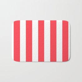 Sunburnt Cyclops pink - solid color - white vertical lines pattern Bath Mat