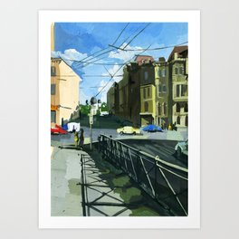 Landscape of a sunny day urban avenue. Art Print