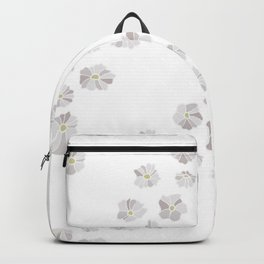 Diagonal flowers seamless repeating pattern small version, gray Backpack