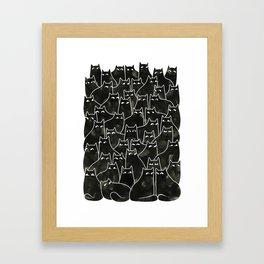 Suspicious Cats Framed Art Print
