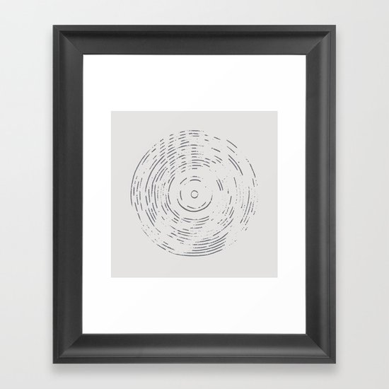 Record Black and White Framed Art Print