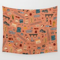 budapest Wall Tapestries featuring Budapest Hotel Plot Pattern by QRS Patterns