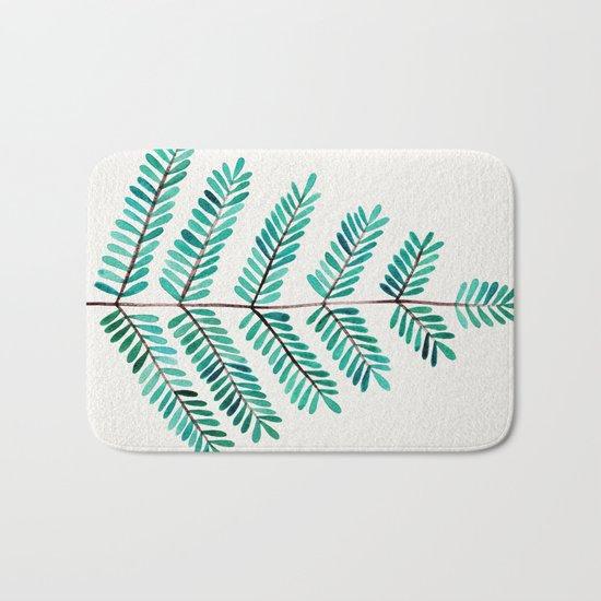 Turquoise Leaflets Bath Mat