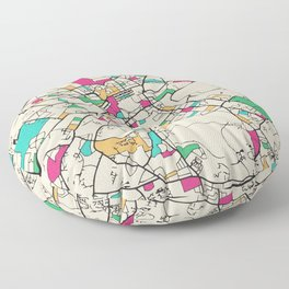 Colorful City Maps: Edinburgh, Scotland Floor Pillow