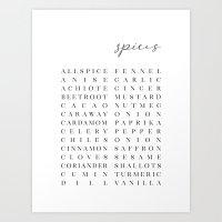 Spice list typography art Art Print