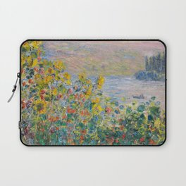 1881-Claude Monet-Flower Beds at Vétheuil-73 x 92 Laptop Sleeve
