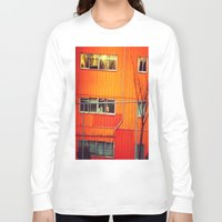 industrial Long Sleeve T-shirts featuring Orange Industrial by Thick Paint Works