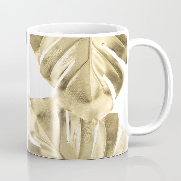 Gold Monstera Leaves on White Coffee Mug