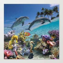 Coral Reef and Dolphins Canvas Print