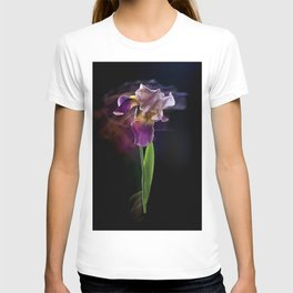 Iris flower on a black background. Long exposure. T-shirt