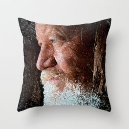 Old man blue eyes Throw Pillow