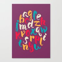 lettering Canvas Prints featuring Lettering ABC by Sudjino