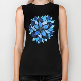 Abstract Blue Flower Ink Drawing Biker Tank