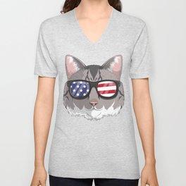 Patriotic American Bobtail Cat Kitty Merica American Flag Unisex V-Neck