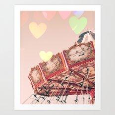Swing carousel nursery and heart bokeh on pale pink Art Print