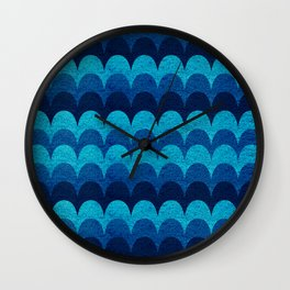 Abstraction_BLUE_WAVES Wall Clock
