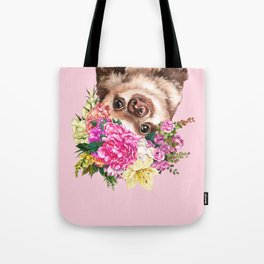 Flower Crown Baby Sloth in Pink Tote Bag