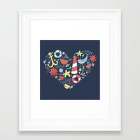nautical Framed Art Prints featuring Nautical by lindsey salles
