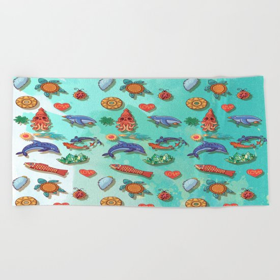 Acuarela animals 2 pattern Beach Towel