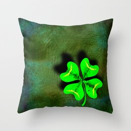 Four Leaf Clover on Green Textured Background Throw Pillow