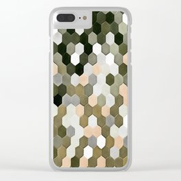 Honeycomb Pattern In Shades Of Grey and Pink Clear iPhone Case
