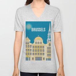 Brussels, Belgium - Skyline Illustration by Loose Petals Unisex V-Neck