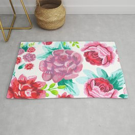 Hand drawn artistic roses pattern white background Rug