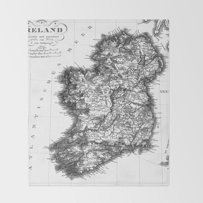 Map Of Ireland Black And White.Vintage Black And White Ireland Map Throw Blanket By Mapmaker Society6