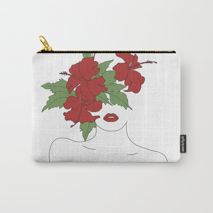 Minimal Line Art Woman with Hibiscus Carry-All Pouch