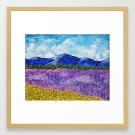 Sunflowers and Lavender In Provence Framed Art Print