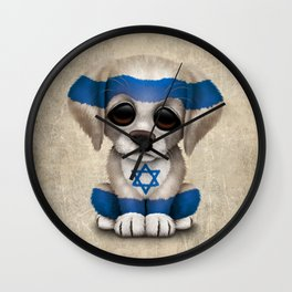 Cute Puppy Dog with flag of Israel Wall Clock