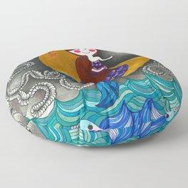 Mermaid in the moon Floor Pillow