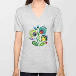 Polish Folk Art Print Aqua Unisex V-Neck