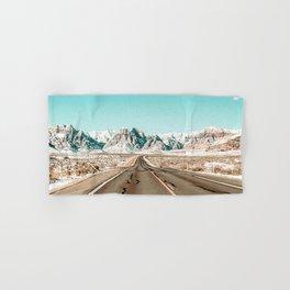 Vintage Desert Road // Winter Storm Red Rock Canyon Las Vegas Nature Scenery View Hand & Bath Towel