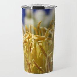Butter Yellow Stamen of Century Plant on Ocean Blue Travel Mug