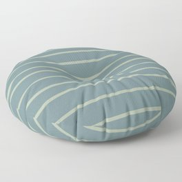 Blue-Green Minimal Horizontal Line Pattern V2 2021 Color of the Year Aegean Teal and Salisbury Green Floor Pillow