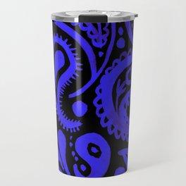 Handpainted Paisley Pattern Purple and Black Color Travel Mug